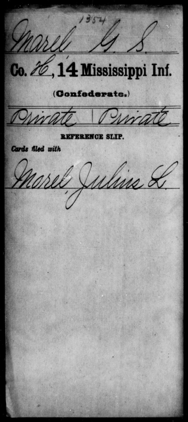 Marel, G S - Age: [Blank], Year: [BLANK] - Mississippi Fourteenth Infantry, I-Ma