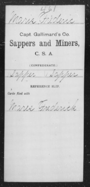 Maris, Frederic - Age [Blank], Year: [Blank] - Sappers and Miners, L-Y - Raised Directly by the Confederate Government