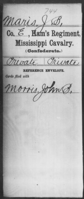 Maris, J B - Age: [Blank], Year: [BLANK] - Mississippi Ham's Regiment, Cavalry, H-S