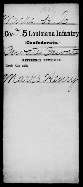 Marks, H C - Age [Blank], Year: [Blank] - Roll Military Unit, M - Mo - Louisiana