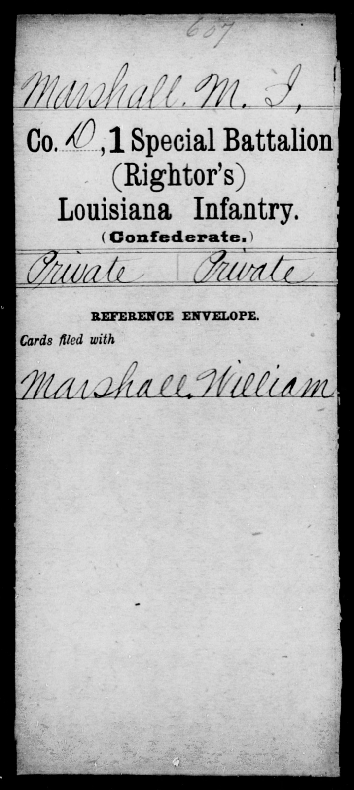 Marshall, M I - Age [Blank], Year: [Blank] - First (Rightor's) Special Battalion, Infantry, G - M - Louisiana