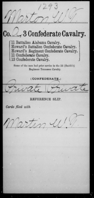 Marton, W T - Age [Blank], Year: [Blank] - Third Confederate Cavalry, I-N - Raised Directly by the Confederate Government
