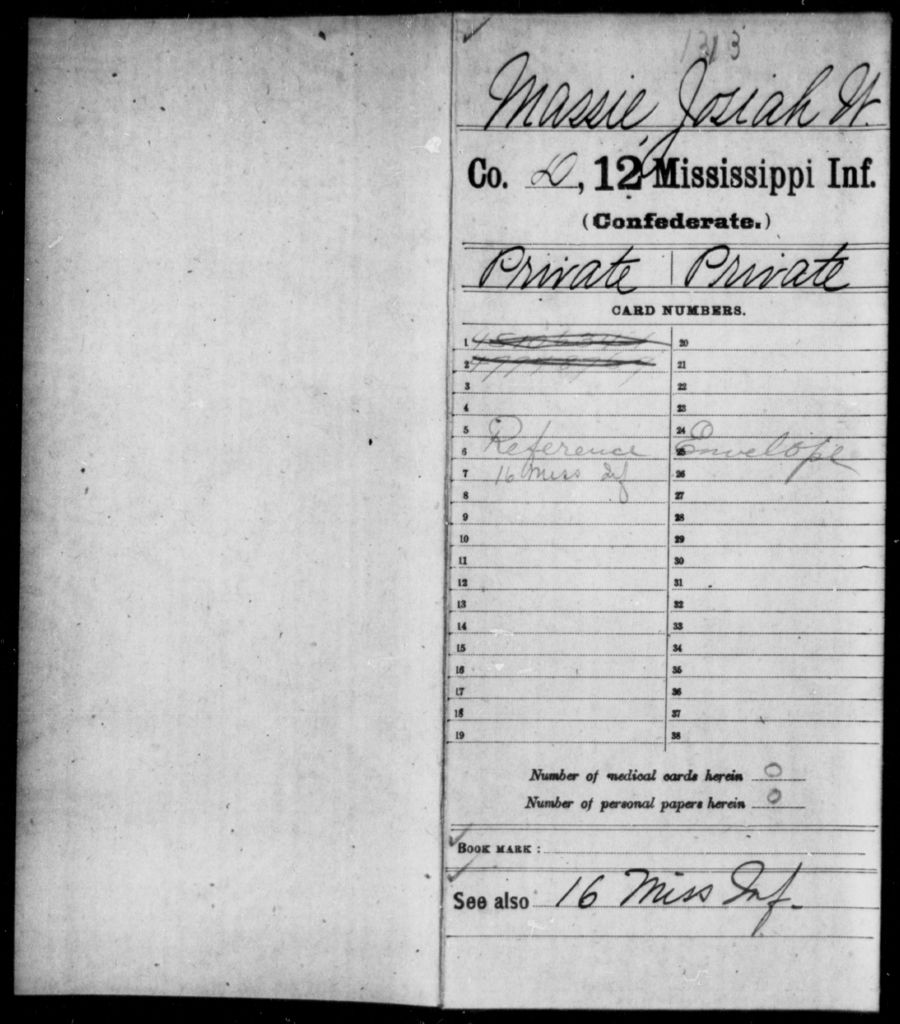 Massie, Josiah W - Age: 28, Year: 1861 - Mississippi Twelfth Infantry, L-Mc