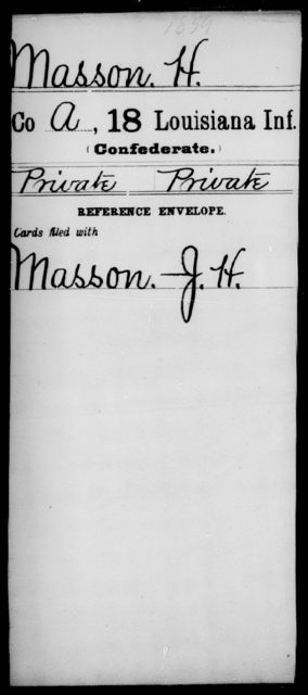 Masson, H - Age [Blank], Year: [Blank] - Eighteenth Infantry, M - Pi - Louisiana