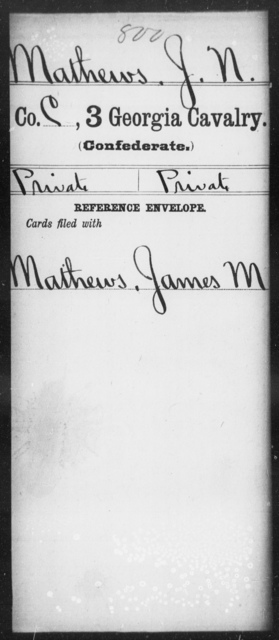 Mathews, J N - 3d Cavalry