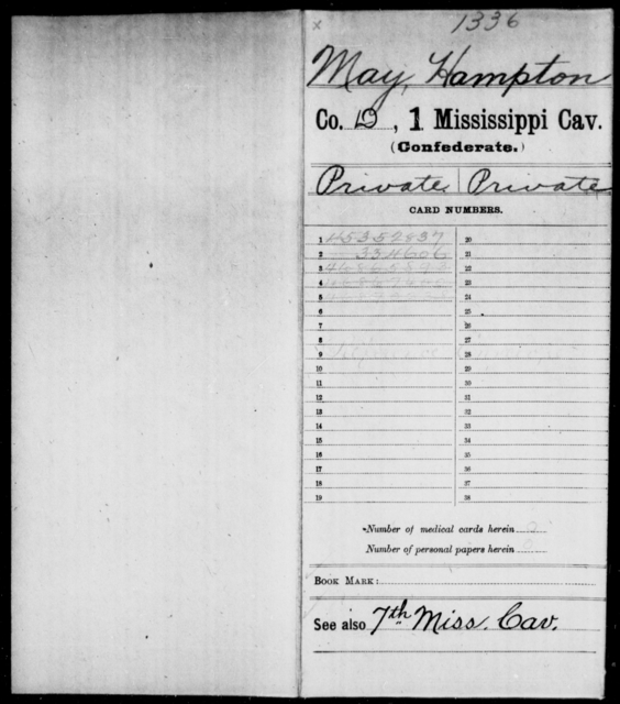 May, Hampton - Age: [Blank], Year: 1863 - Mississippi First Cavalry, K-R