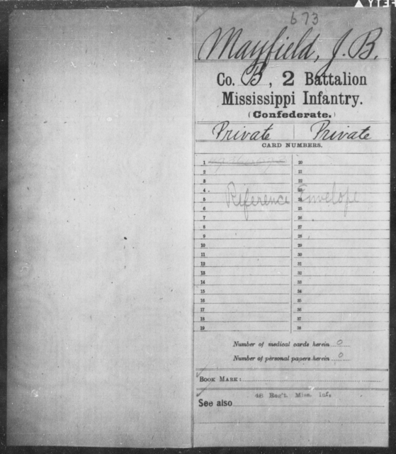 Mayfield, J B - Age: [Blank], Year: [BLANK] - Mississippi Second Battalion, Infantry, A-P