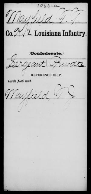 Mayfield, T T - Age [Blank], Year: [Blank] - M - Louisiana