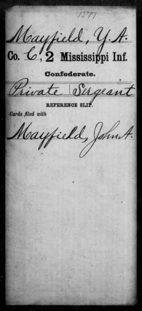 Mayfield, Y A - Age: [Blank], Year: [BLANK] - Mississippi Second Infantry, A, Le-McG