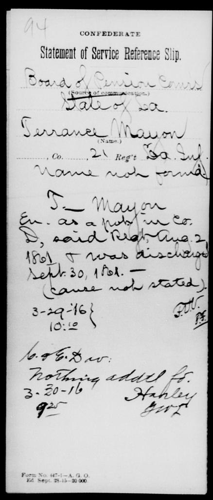 Mayon, Terrance - Age [Blank], Year: [Blank] - Twenty-first (Kennedy's) Infantry, A - R - Louisiana