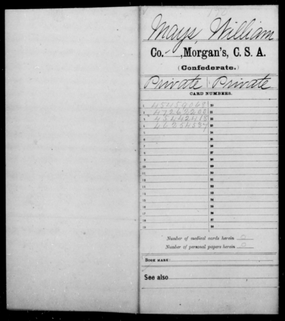 Mays, William - Age [Blank], Year: 1863 - Invalid Corps AND Officers Surnamed Morgan, CSA AND President's Guard, CSA AND Misc. Records - Raised Directly by the Confederate Government
