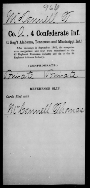 Mc Donnell, T - Age [Blank], Year: [Blank] - Fourth Confederate Infantry, G-N - Raised Directly by the Confederate Government