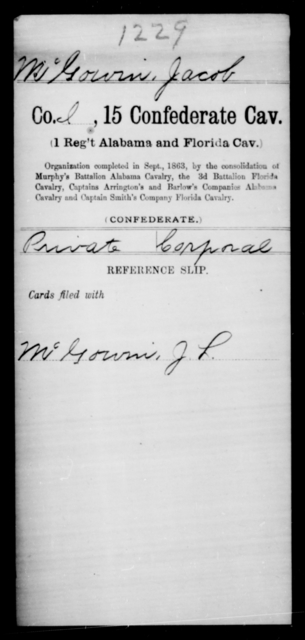 Mc Gowin, Jacob - Age [Blank], Year: [Blank] - Fifteenth Confederate Cavalry, He-Mi - Raised Directly by the Confederate Government