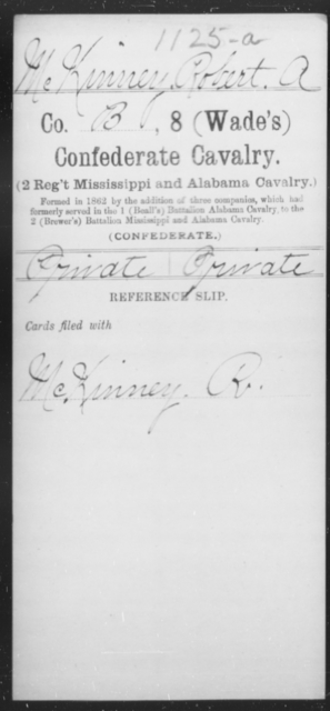 Mc Kinney, Robert A - Age [Blank], Year: [Blank] - Eighth Confederate Cavalry, L-R - Raised Directly by the Confederate Government