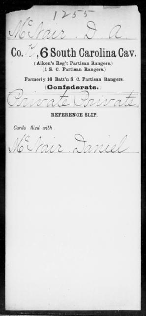 Mc Nair, D A - Age: [Blank], Year: [BLANK] - South Carolina Sixth Cavalry 1-Mc