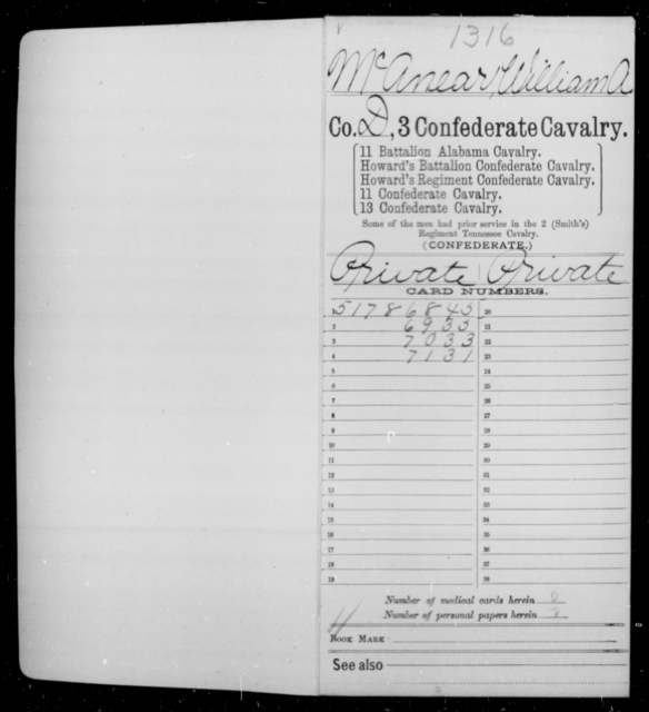 McAnear, William A - Age [Blank], Year: 1863 - Third Confederate Cavalry, I-N - Raised Directly by the Confederate Government