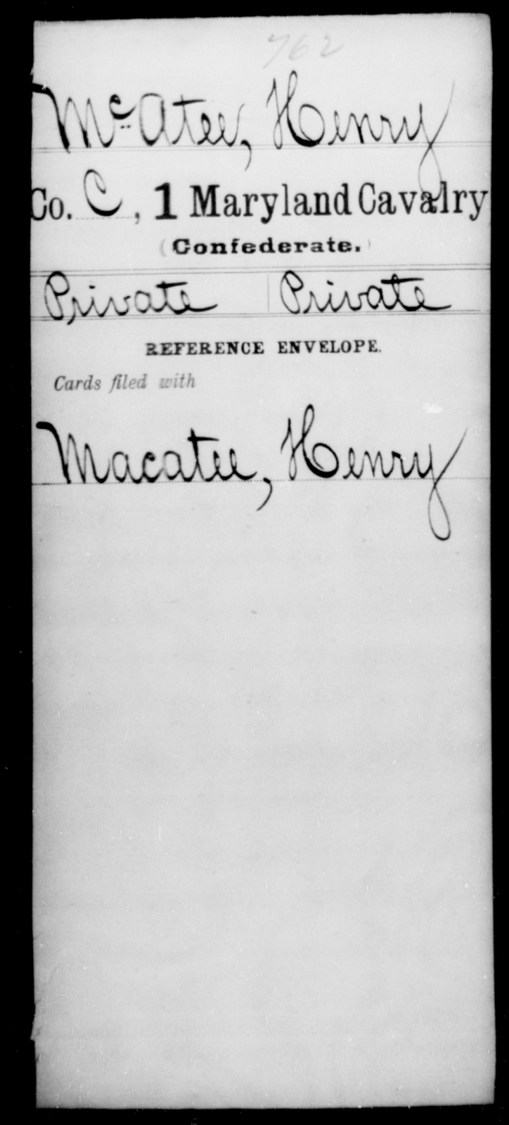 McAtee, Herny - Age [Blank], Year: [Blank] - First Cavalry, Lo-Q - Maryland