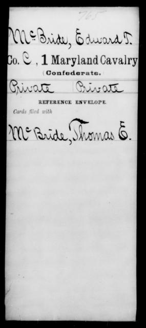 McBride, Edward T - Age [Blank], Year: 1864 - First Cavalry, Lo-Q - Maryland