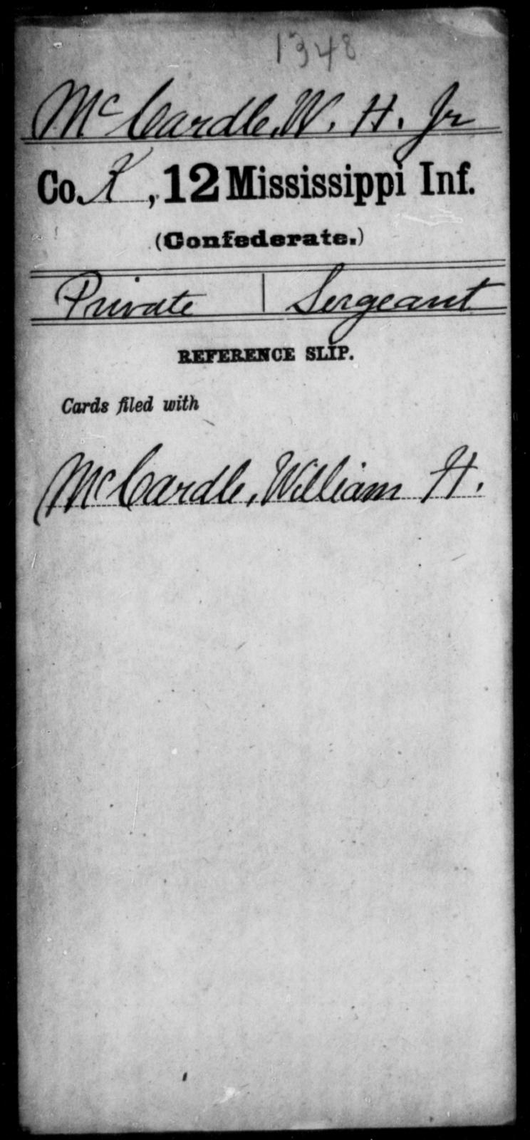 McCardle, W H - Age: [Blank], Year: [BLANK] - Mississippi Twelfth Infantry, L-Mc