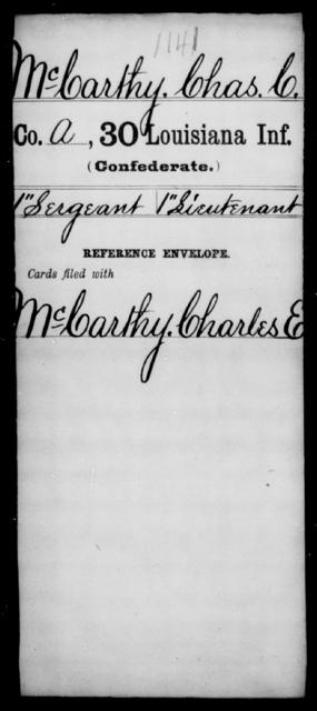 McCarthy, Chas C - Age [Blank], Year: [Blank] - Thirtieth Infantry, K- M - Louisiana