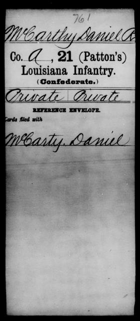 McCarthy, Daniel R - Age [Blank], Year: [Blank] - Twenty-first (Patton's) Infantry, Jo - Mu - Louisiana