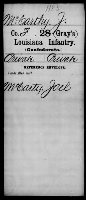 McCarthy, J - Age [Blank], Year: [Blank] - Twenty-eighth (Gray's) Infantry, M - P - Louisiana