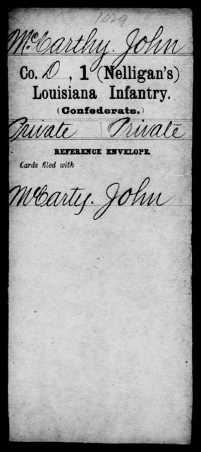 McCarthy, John - Age [Blank], Year: [Blank] - M - Louisiana