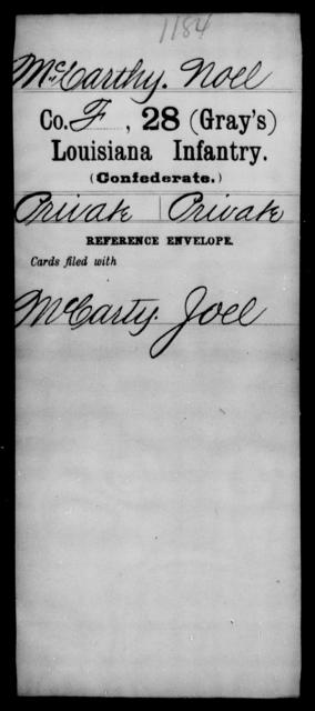 McCarthy, Noel - Age [Blank], Year: [Blank] - Twenty-eighth (Gray's) Infantry, M - P - Louisiana