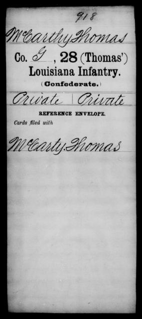 McCarthy, Thomas - Age [Blank], Year: [Blank] - Twenty-eighth (Thomas') Infantry, H - M - Louisiana