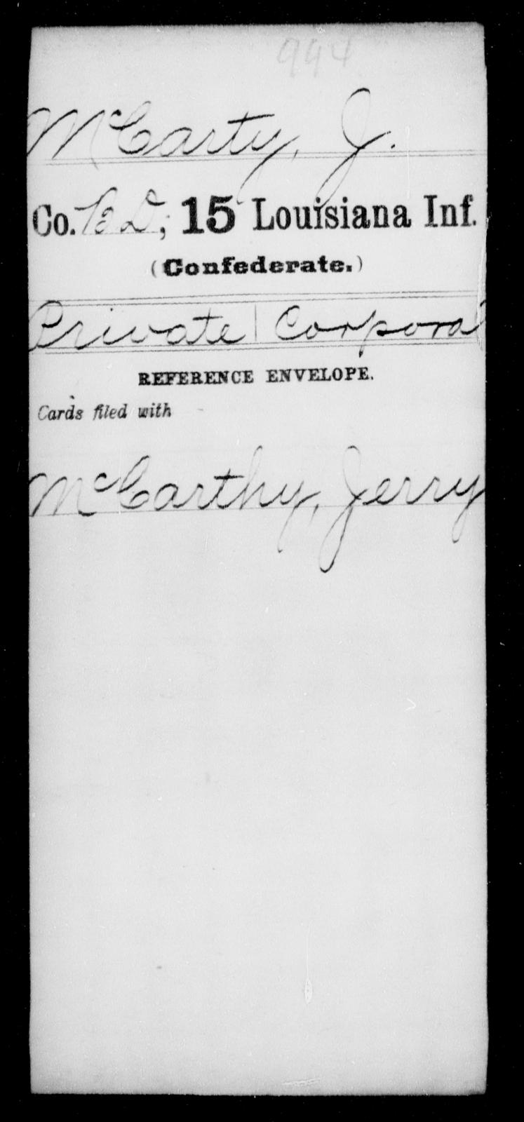 McCarty, J - Age [Blank], Year: [Blank] - Fifteenth Infantry, M - Ni - Louisiana