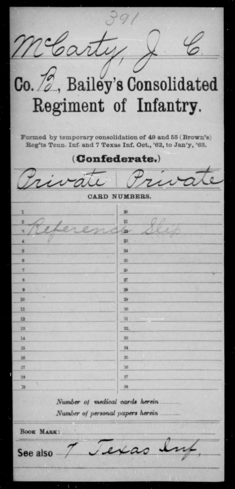 McCarty, J C - Age [Blank], Year: [Blank] - Bailey's Consolidated Regiment of Infantry AND Bradford's Corps, Scouts and Guards - Raised Directly by the Confederate Government