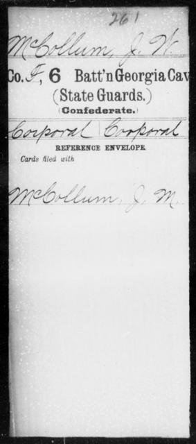 McCollum, J W - 6th Battalion, Cavalry (StateGuards) AND 7th Cavalry