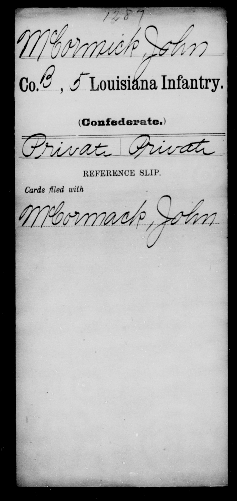 McCormick, John - Age [Blank], Year: [Blank] - Roll Military Unit, M - Mo - Louisiana
