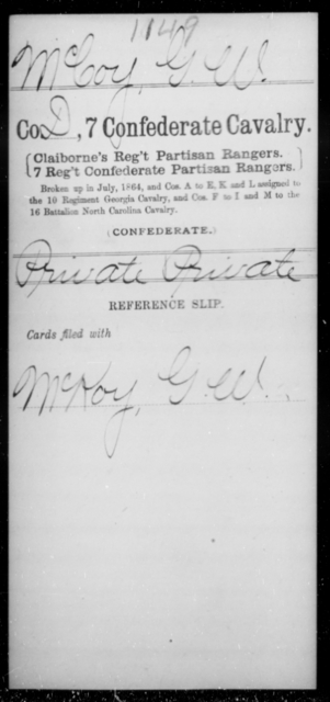 McCoy, G W - Age [Blank], Year: [Blank] - Seventh Confederate Cavalry, L-Pa - Raised Directly by the Confederate Government