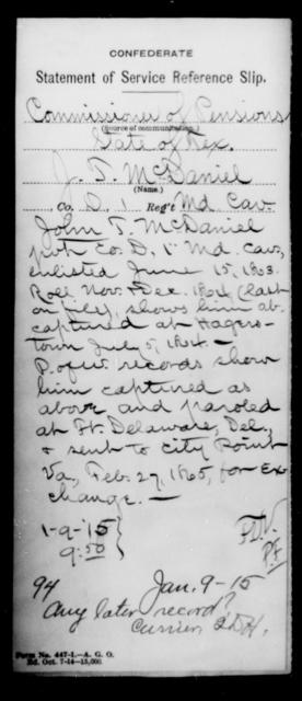 McDaniel, J T - Age [Blank], Year: [Blank] - First Cavalry, Lo-Q - Maryland