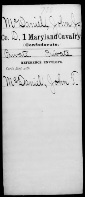 McDaniel, John J - Age [Blank], Year: [Blank] - First Cavalry, Lo-Q - Maryland