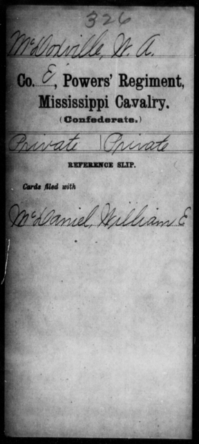 McDoxville, W A - Age: [Blank], Year: [BLANK] - Mississippi Perrin's Battalion, State Cavalry, L-Y AND Capt. Polk's Independent Co. (Polk Rangers), Cavalry AND Power's Regiment, Cavalry