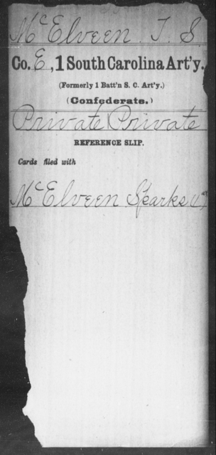 McElveen, T S - Age: [Blank], Year: [BLANK] - South Carolina First Artillery L-Me