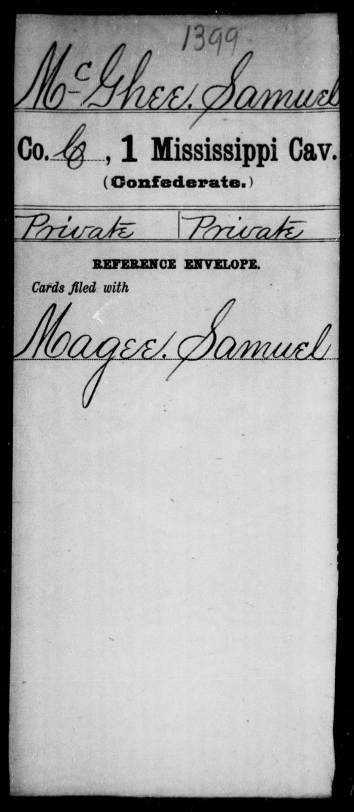 McGhee, Samuel - Age: [Blank], Year: [BLANK] - Mississippi First Cavalry, K-R