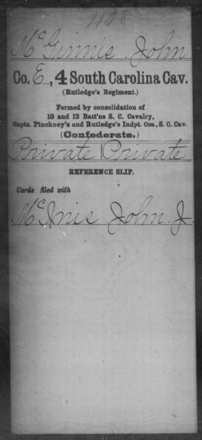 McGinnis, John - Age: [Blank], Year: [BLANK] - South Carolina Fourth Cavalry M-O