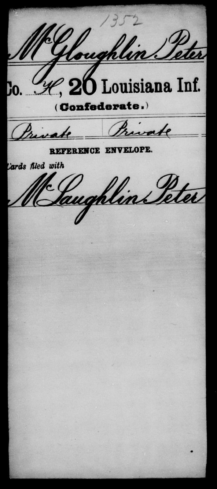 McGloughlin, Peter - Age [Blank], Year: [Blank] - Twentieth Infantry, Le - Mo - Louisiana