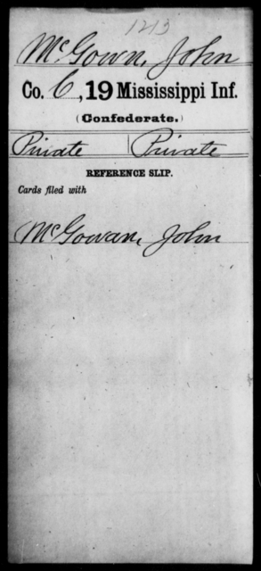 McGown, John - Age: [Blank], Year: [BLANK] - Mississippi Nineteenth Infantry, Mc-N