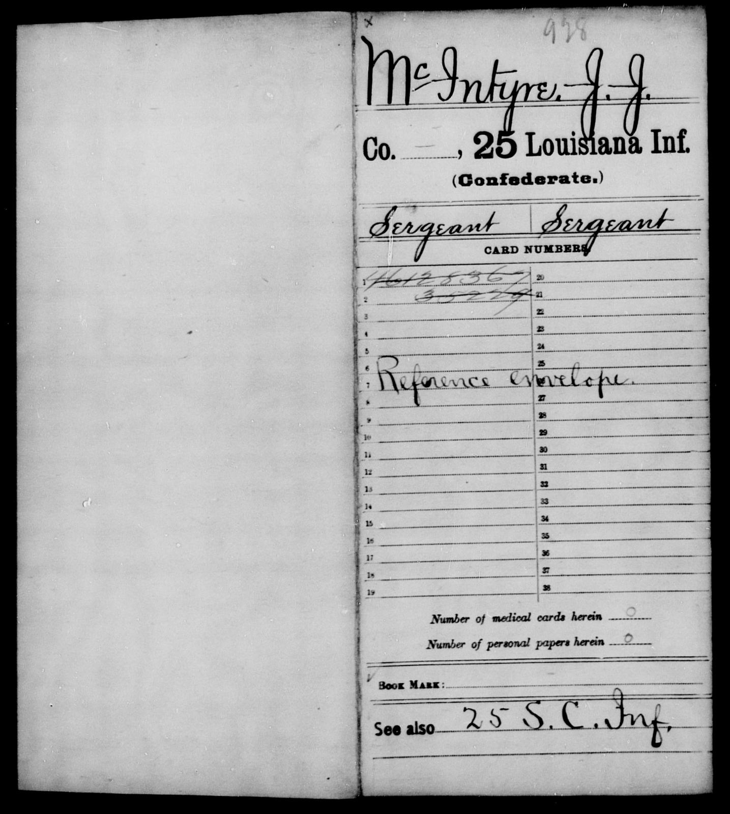 McIntyre, J J - Age [Blank], Year: [Blank] - Twenty-fifth Infantry, M - Q - Louisiana