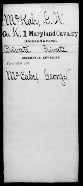 McKabe, G W - Age [Blank], Year: [Blank] - First Cavalry, Lo-Q - Maryland
