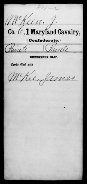 McKeen, J - Age [Blank], Year: 1863 - First Cavalry, Lo-Q - Maryland