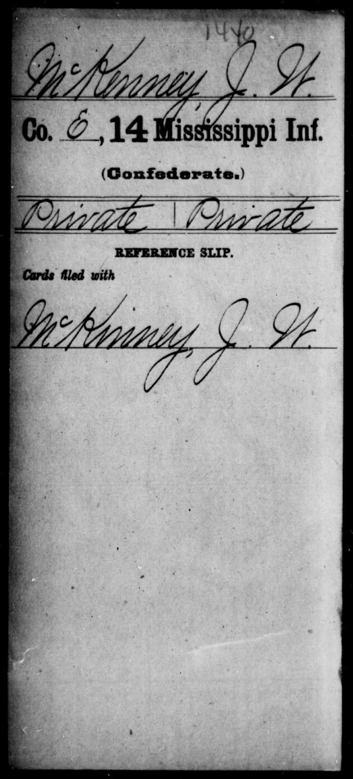 Mckenney, J W - Age: [Blank], Year: [BLANK] - Mississippi Fourteenth Infantry, Mc-O