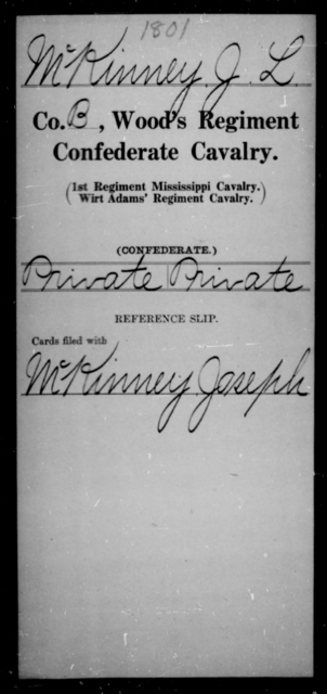 McKinney, J L - Age [Blank], Year: [Blank] - Wood's Regiment, Confederate Cavalry, M-O - Raised Directly by the Confederate Government