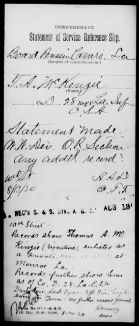 McKinsey, T A - Age [Blank], Year: [Blank] - Twenty-eighth (Gray's) Infantry, M - P - Louisiana