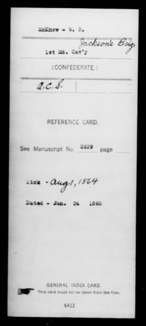 McKnew, W R - Age [Blank], Year: [Blank] - First Cavalry, Lo-Q - Maryland
