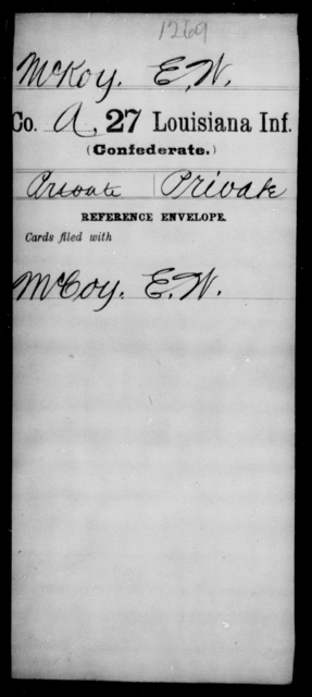 McKoy, E W - Age [Blank], Year: [Blank] - Twenty-seventh Infantry, M - O - Louisiana